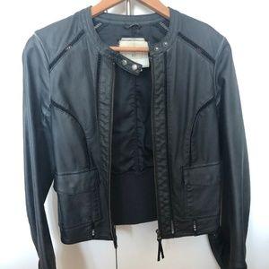 Anthropologie HEI Vegan Leather Navy Slate Jacket